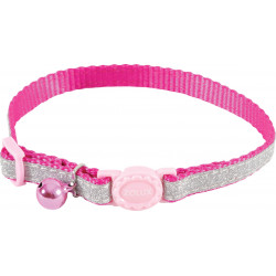 zolux SHINY nylon collar adjustable from 17 to 30 cm. pink . for cat. collier laisse cage