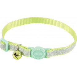 zolux SHINY nylon collar adjustable from 17 to 30 cm. green . for cat. collier laisse cage
