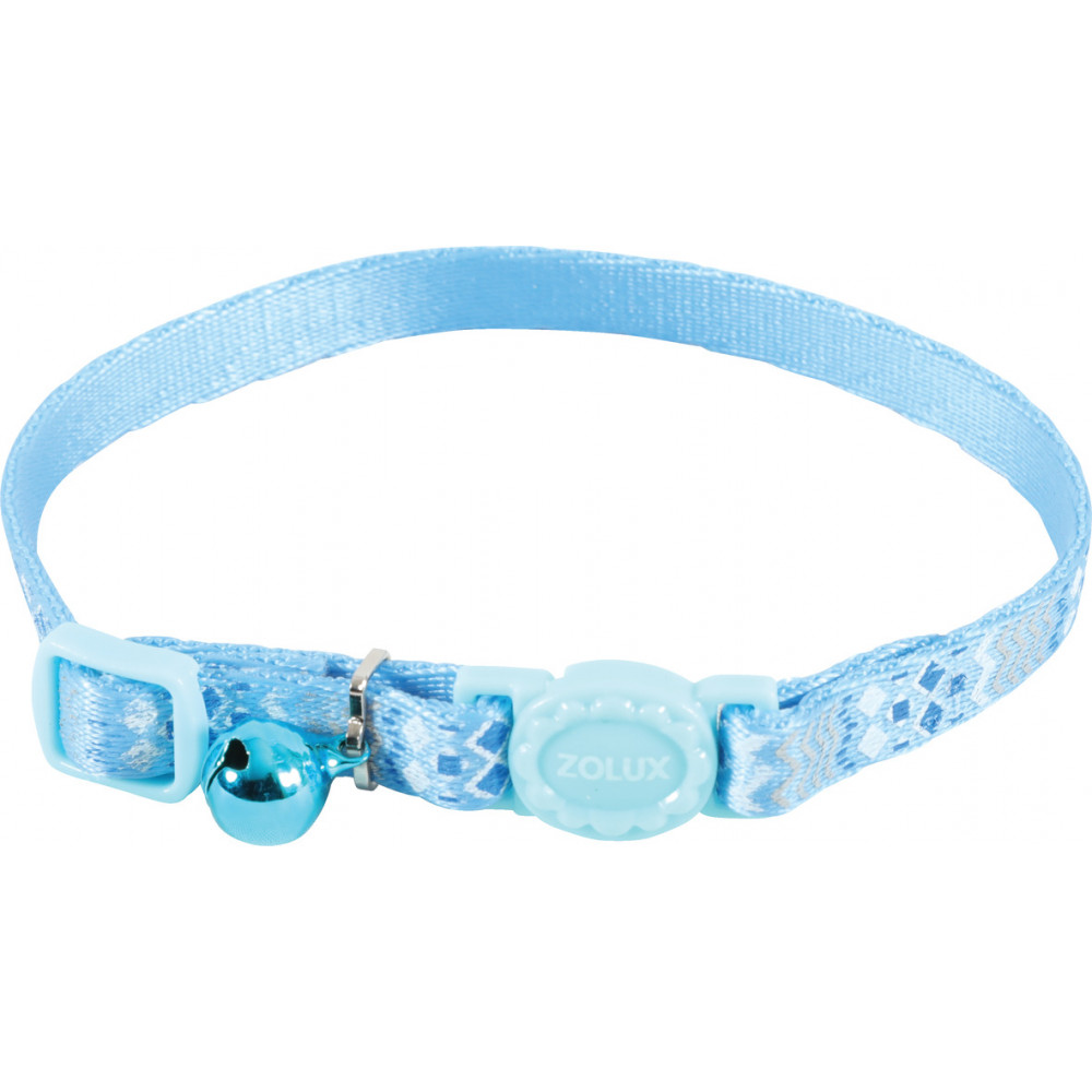 zolux Collar ETHNIC nylon adjustable from 17 to 30 cm. blue . for cat. collier laisse cage