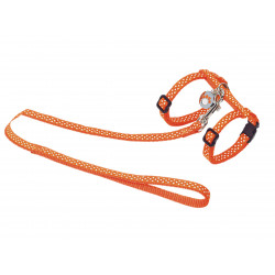 Vadigran Harness + lead 120 cm. with orange polka dots. Adjustable. for cats. collier laisse cage