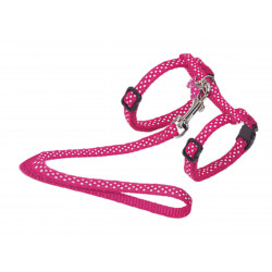 Vadigran Harness + lead 120 cm. with Fuchsia dots. Adjustable. for cats. collier laisse cage