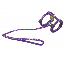 Vadigran Harness + lead 120 cm. with purple dots. Adjustable. for cat. collier laisse cage