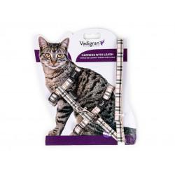 Vadigran Harness + lead 120 cm. beige tartan. Adjustable. for cats. collier laisse cage