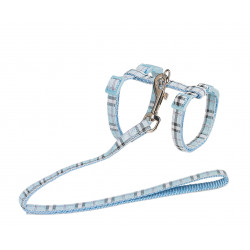 Vadigran Harness + lead 120 cm. blue tartan. Adjustable. for cats. collier laisse cage