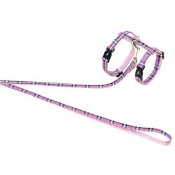 Tuig + riem 120 cm. roze tartan. Verstelbaar. voor cat. Vadigran VA-16593 Kraag, riem, harnas