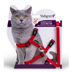 Vadigran Harness with leash 1.20m. red color. for big cats. collier laisse cage