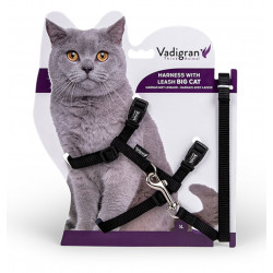 Vadigran Harness with leash 1.20m. black color. for big cats. collier laisse cage