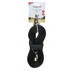 Vadigran Flat nylon tracking leash. 10 meters x 15 mm. black color. for dogs. dog leash