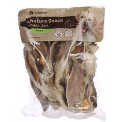Flamingo Pet Products Rabbit ear with hair. snack nature . 200 gr. for dogs. Nourriture