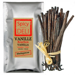 Spicy Deli 5 Gourmet Black Vanilla pods from Madagascar - Size: 12 to 14 cm epicerie