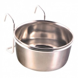 Trixie Stainless steel feeder with holder 300 ml ø 9 cm Feeding troughs, watering troughs