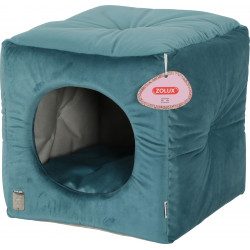 zolux Chesterfield Cube Chambord Peacock Green. 35 cm. for cats. Sleeping