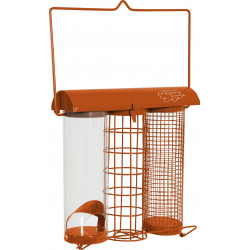 zolux Orange trio feeder. 20 x 9 x height 22.5 cm . for birds Outdoor feeders
