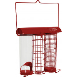 zolux Red trio feeder. 20 x 9 x height 22.5 cm . for birds Outdoor feeders
