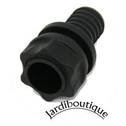 Raccord Droit + écrou + Joints - traversée de paroi -pour tuyau 19 mm Traversée de Paroi PVC Interplast IN-STPAR34
