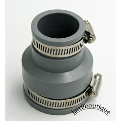 Interplast Raccords réduction multi-matériaux en PVC souples FF de 50 à 56 mm et 30 à 36 mm gris IN-SE058-038 Raccord PVC éva...