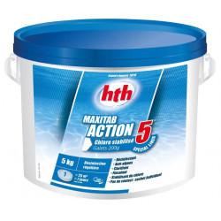 HTH Chlore multiaction - HTH Maxitab - 5 Action Spécial liner galets 200 g. - 5 kg Produit de traitement