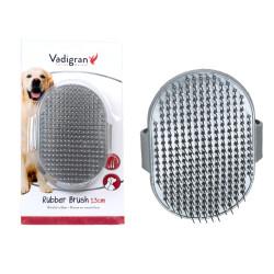 Vadigran Gummibürste mit verstellbarem Stachel, grau, 13 cm. für Hunde und Katzen. VA-13479 Brosse