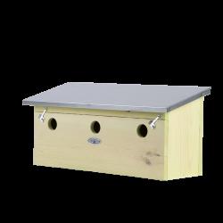 Esschert Design Apartment for sparrows, horizontal, in pine wood, zinc. for birds. Nichoir oiseaux