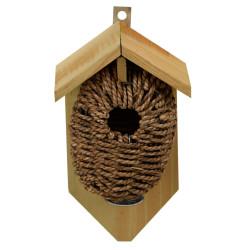 Esschert Design Sea rush pocket nesting box, hole ø 35mm. for wren birds. Nichoir oiseaux