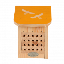 Esschert Design Bee house, with coloured roof with bee silhouette. Abeilles