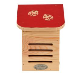 Esschert Design Ladybird house, coloured roof with ladybird silhouette. Coccinelles