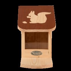 Esschert Design Squirrel feeder, with coloured roof with squirrel silhouette. Ecureuil