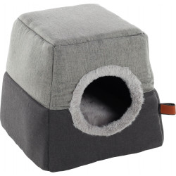 Flamingo Pet Products KENZIE 2 in 1. grey cat basket. Sleeping