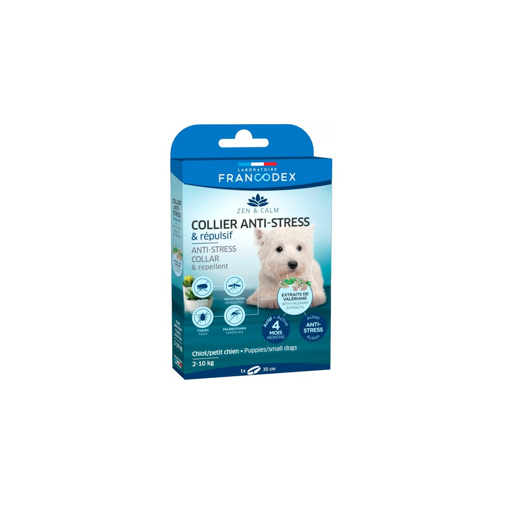 Francodex Anti-Stress and Repellent collar for puppies and small dogs from 2 kg to 10 kg. Pest control pipettes