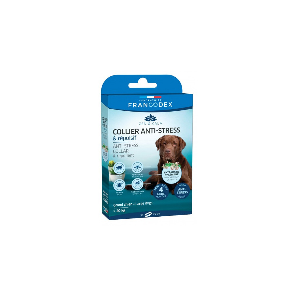 Francodex Anti-Stress and Repellent collar for large dogs over 20 kg. pest control collar