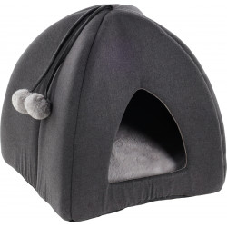 Flamingo Pet Products KENZIE Igloo Basket. grey. for cats. Sleeping