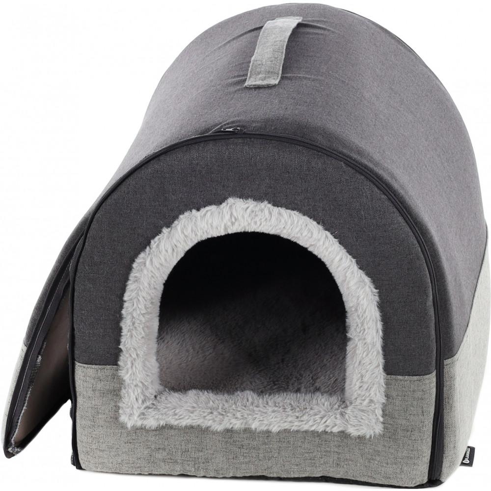 Flamingo Pet Products KENZIE. grey cat basket. Sleeping
