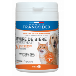 Francodex Brewer's Yeast For dogs and cats, box of 60 tablets. COMPLÉMENT ALIMENTAIRE
