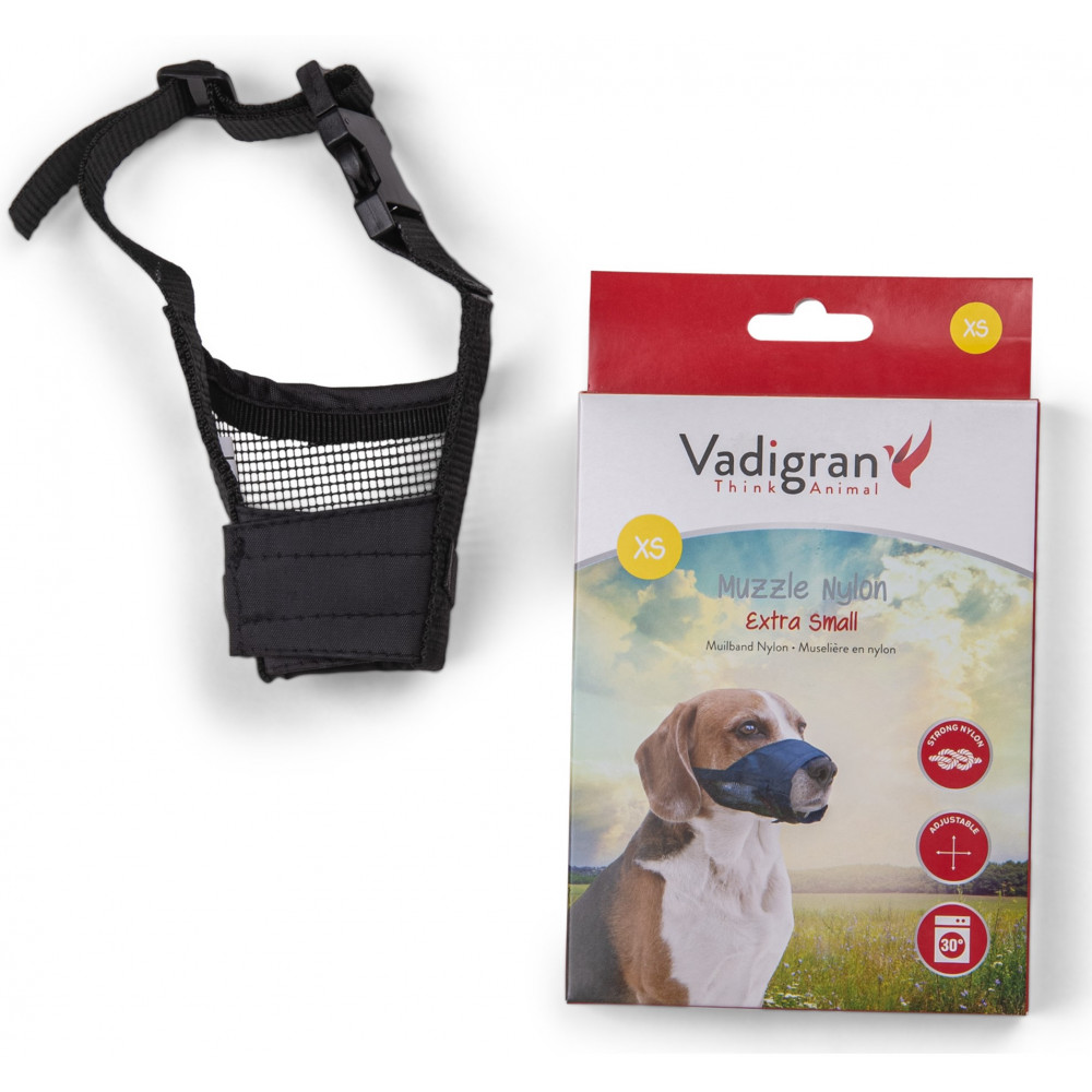 Vadigran Adjustable nylon muzzle, neck from 12 to 31 cm. T XS. for yorkshire type dogs Muselière