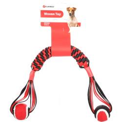 Flamingo Pet Products Bastone intrecciato Movas con palla da tennis. 55 cm. giocattolo per cani. FL-521061 Jeux cordes pour c...