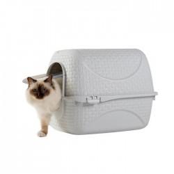 """Maison de toilette """"Privé """" blanche pour chat 41,8 X 50,5 X H 39,6 cm accessoire litière Flamingo FL-560613"""