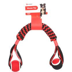 Flamingo Pet Products Movas woven stick with tennis ball. 60 cm . dog toy. Jeux cordes pour chien