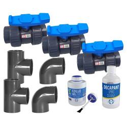 Jardiboutique Kit plomberie, Montage Chauffage de Votre Piscine, Bypass Diametre 50 mm Plomberie