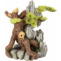 raíz y roca con decoración vegetal decoración acuario Decoración y otros Flamingo FL-410183