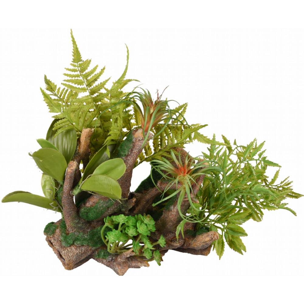 Racine et plante verte decoration aquarium 36 cm Décoration et autre  Flamingo FL-410185