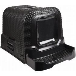Maison de toilette - 42 x 69 x 41 cm Rattan noir pour chat Maison de toilette Flamingo FL-560673