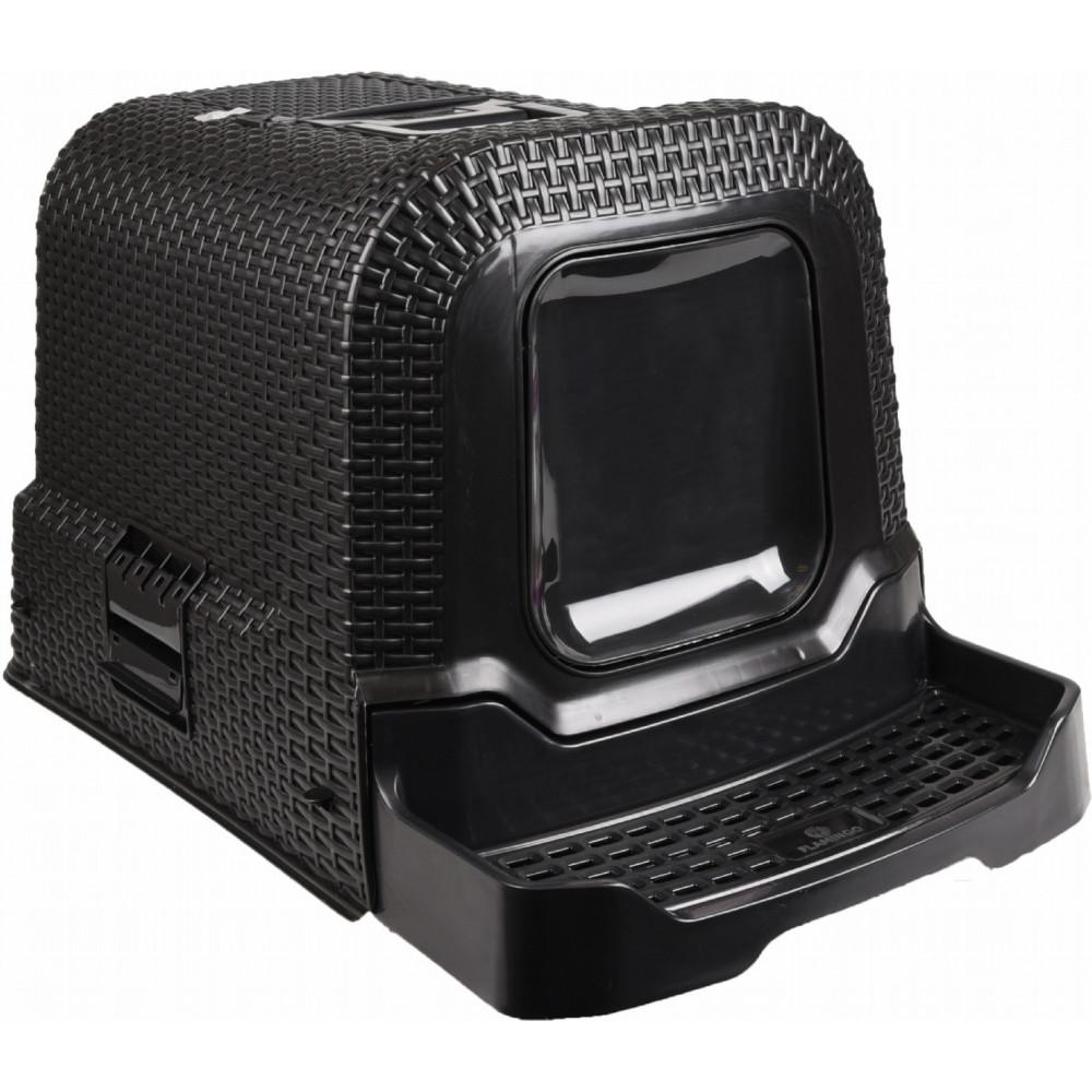 Maison de toilette Rattan noir - 42 x 69 x 41 cm pour chat accessoire litière Flamingo FL-560673