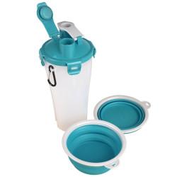 Flamingo Pet Products TRINKA 2 in 1 fiaschetta da viaggio per acqua e cibo. 2 x 400 ml. per cani. FL-520365 Ciotola, ciotola ...