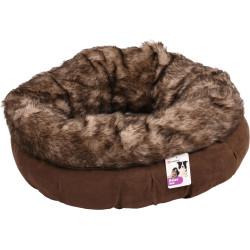 Flamingo Pet Products Round basket ø 55 cm x 20 cm. color brown. range corno. for cat. Sleeping