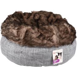 Flamingo Pet Products Cestino rotondo ø 45 cm x 25 cm. cestino Amadeo colore grigio marrone. per gatti FL-560858 Dormire
