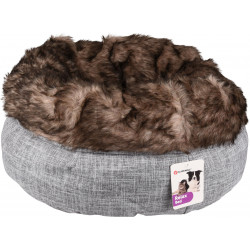 Flamingo Pet Products Round basket ø 45 cm x 25 cm. Amadeo basket grey brown color. for cat Sleeping