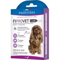 Francodex 4 pipette antipulci fiprovet duo per cani di piccola taglia da 2 a 10 kg FR-170122 Pipette per il controllo dei par...