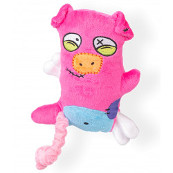 Vadigran Scary pig plush with bone 17.5 cm. dog toy. Peluche pour chien