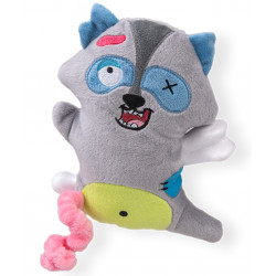 Vadigran Scary raccoon plush with bone 17.5 cm. Dog toy. Peluche pour chien