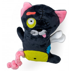 Vadigran Scary cat plush with bone 17.5 cm. dog toy. Peluche pour chien